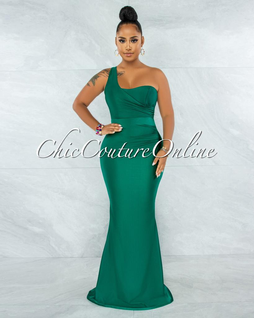 Fernanda Hunter Green Single Shoulder Draped Maxi Dress