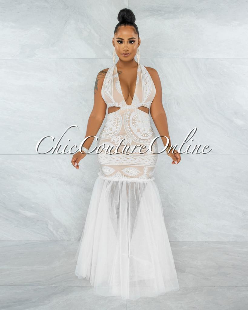 Janeiro White Embroidery Nude Illusion Tulle Mermaid Dress