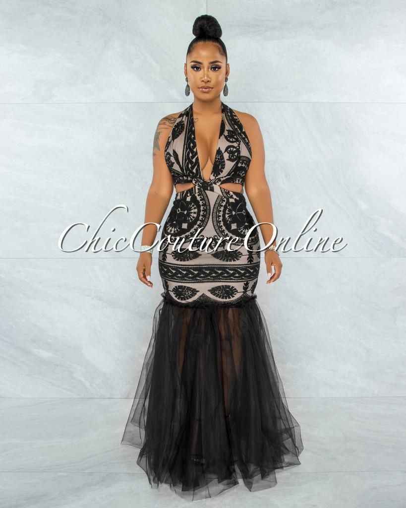 Janeiro Black Embroidery Nude Illusion Tulle Mermaid Dress