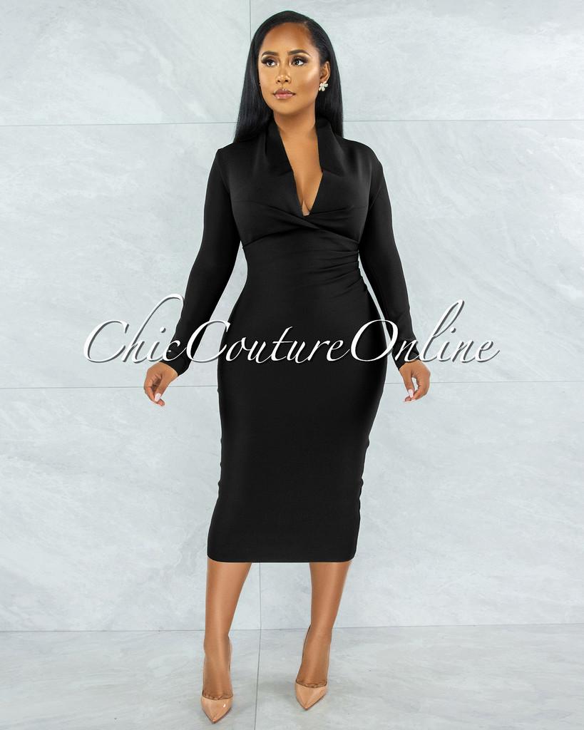 Athina Black Draped Details Bandage Midi Dress