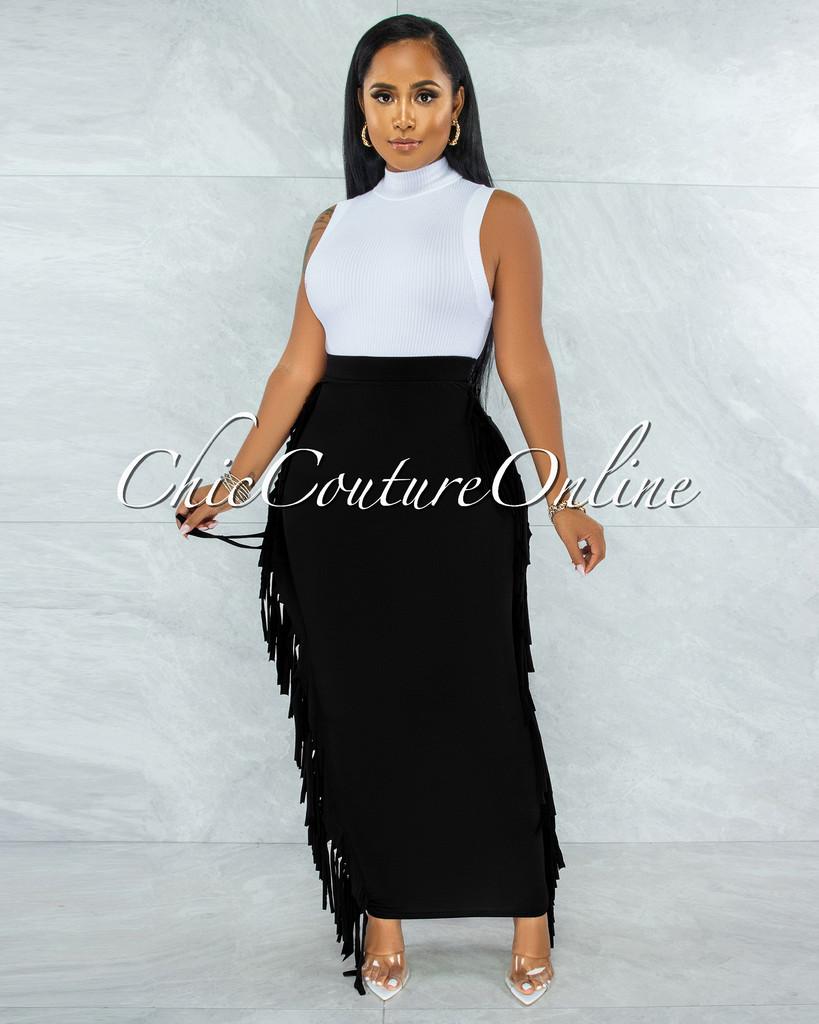 Hania Black Fringe Sides Pencil Maxi Skirt