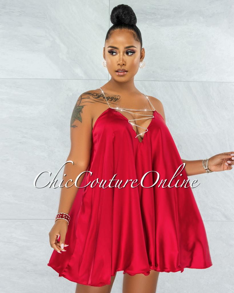 Ariana Red Rhinestones Straps BabyDoll Satin Dress