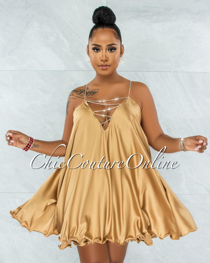 Ariana Gold Rhinestones Straps BabyDoll Satin Dress