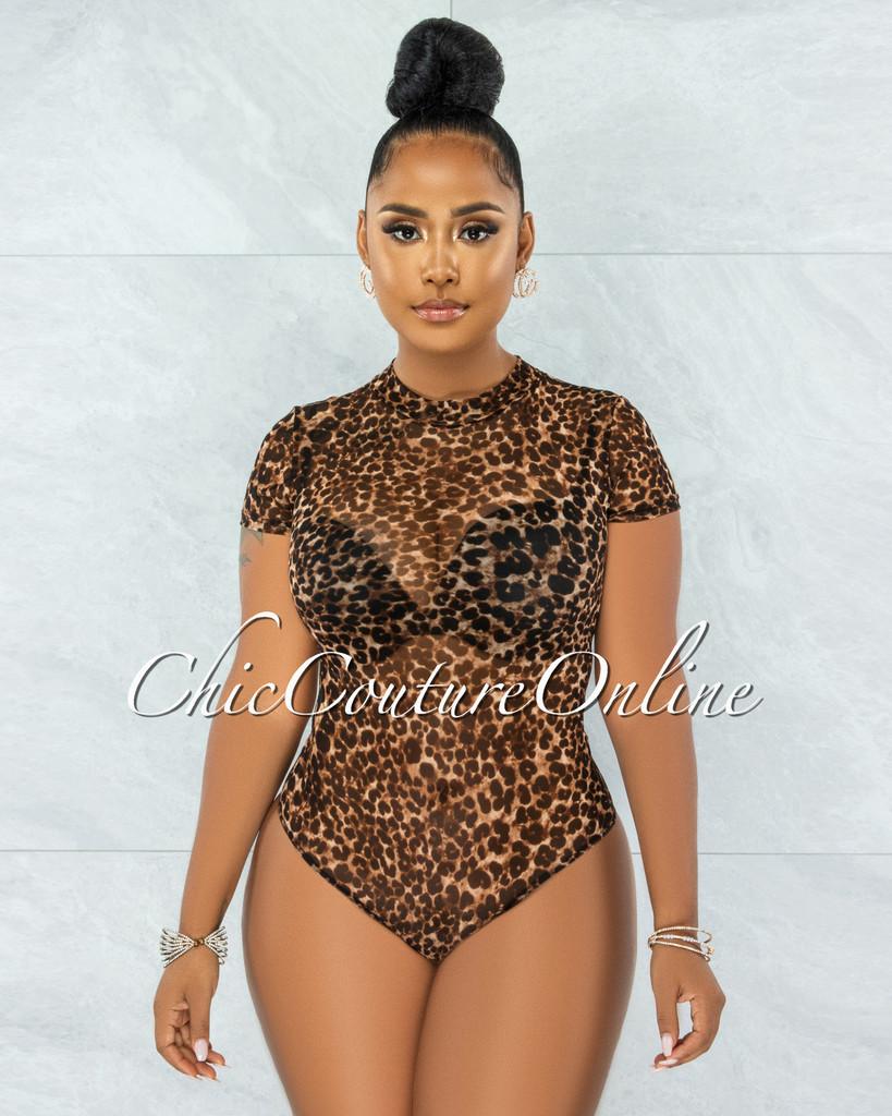 Merana Leopard Print Mesh Semi-Sheer Bodysuit