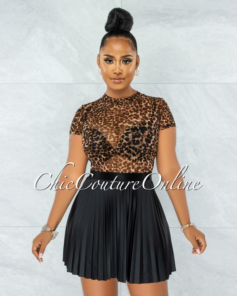 Apala Black Faux Leather Pleated Mini Skirt