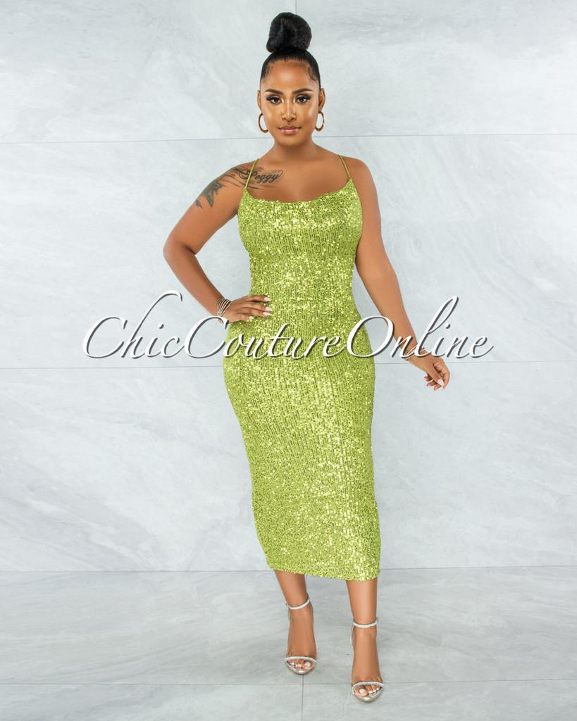 Tamari Apple Green Sequins Lace-Up Open Back Midi Dress