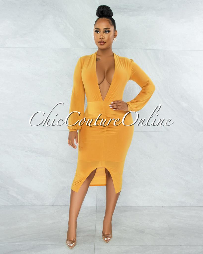 Dager Mustard Yellow Draped Front Slit Midi Dress