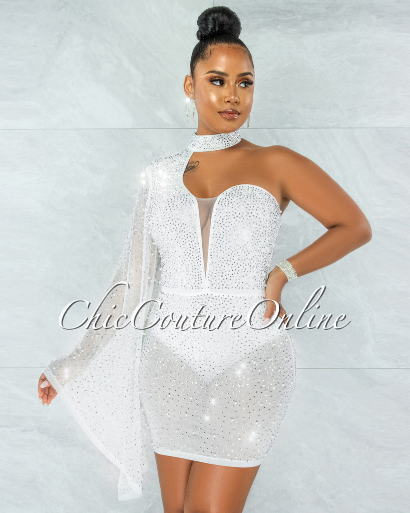 Iriana White Rhinestones & Pearls Single Sleeve Mini Dress