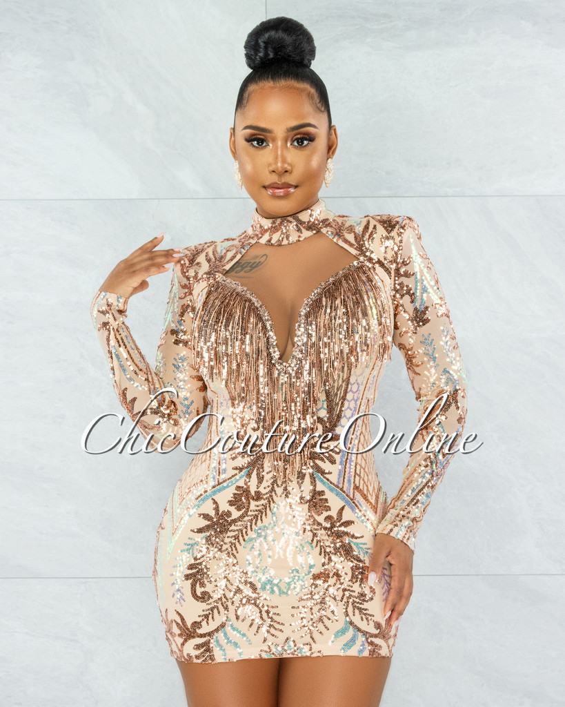 Anthony Nude Rose Gold Sequins Fringe Mini Dress