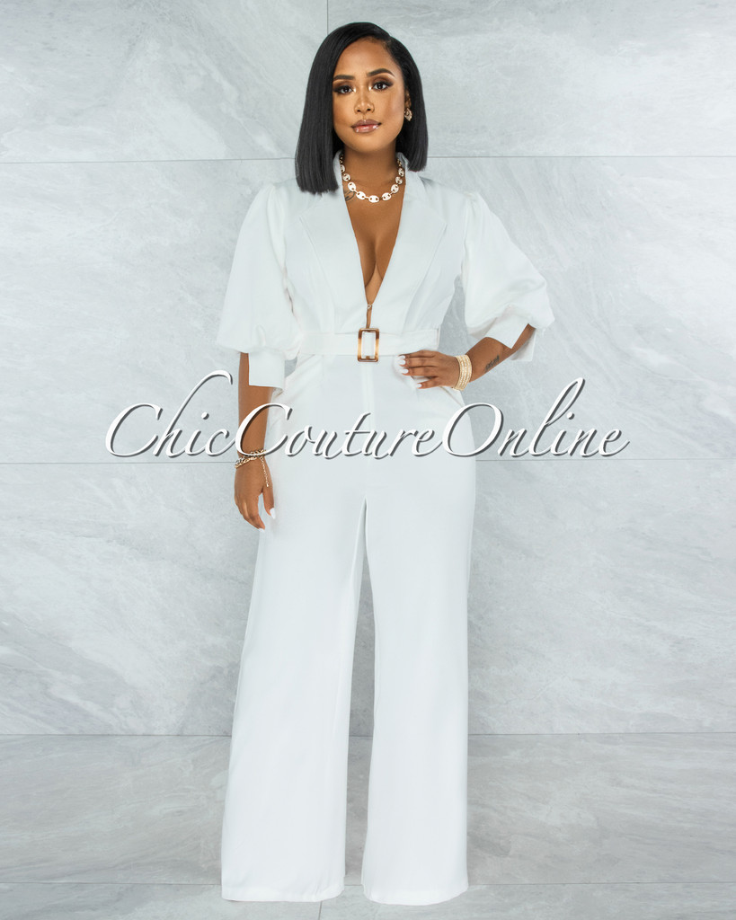 Excess Off-White Accent Belt Puffy Sleeves Jumpsuit
