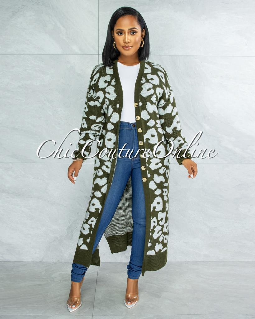 Bernell Olive Grey Leopard Print Knit Cardigan