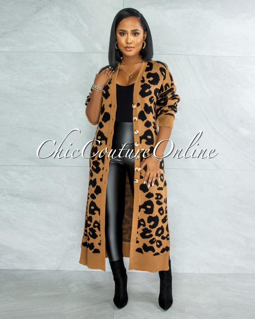 Bernell Mocha Black Leopard Print Knit Cardigan