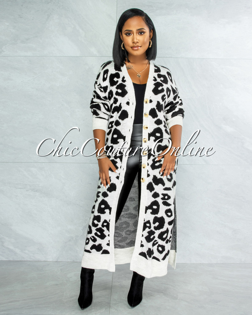 Bernell Grey Black Leopard Print Knit Cardigan