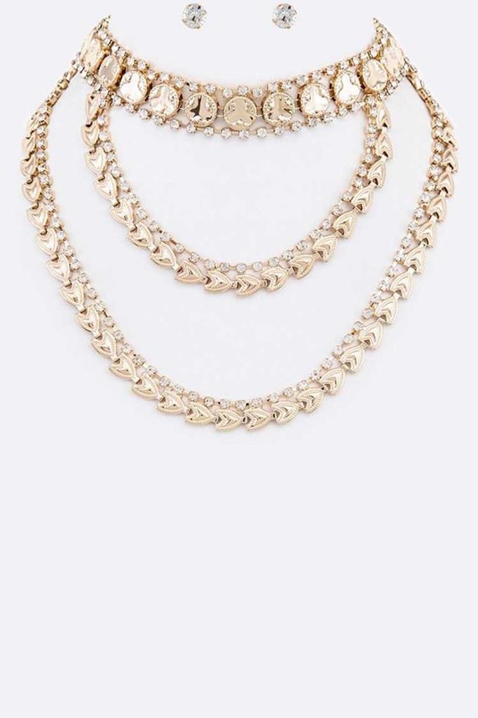Dahlia Gold Rhinestone Accent Statement Collar Necklace