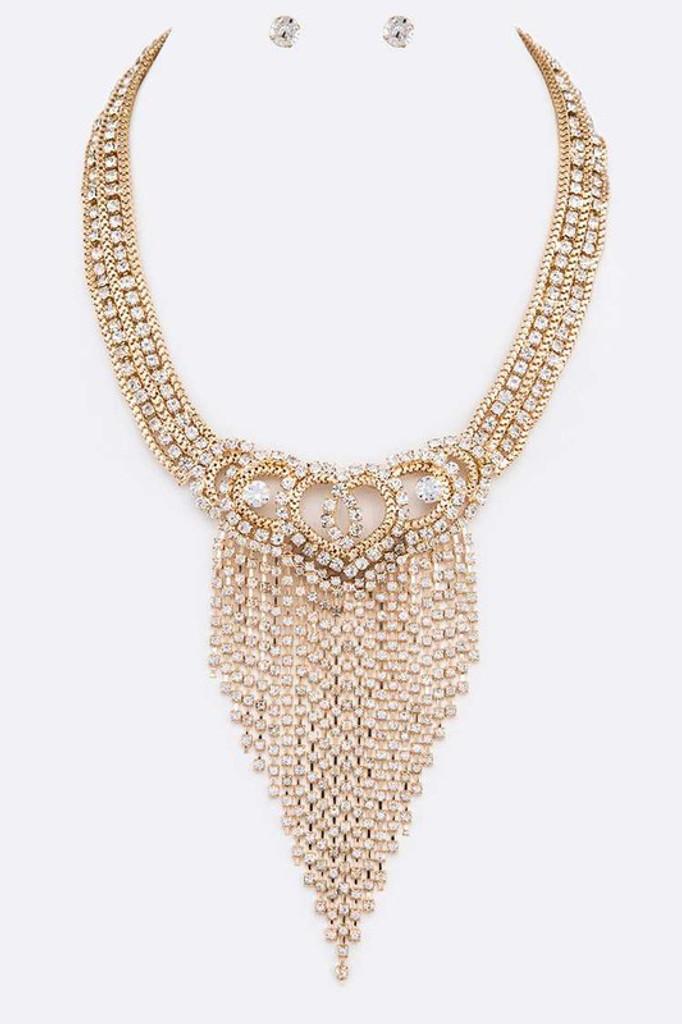Josie Gold Fringe Rhinestone Statement Necklace