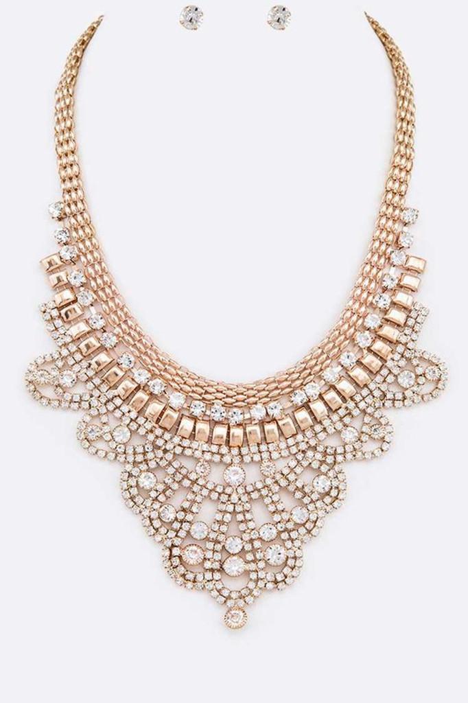 Stacy Gold Rhinestone Mix Chain Statement Necklace