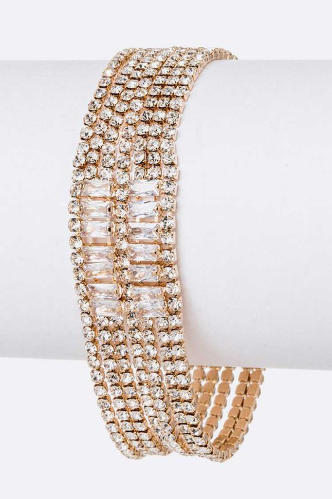Vanessa Gold Multi Layer Rhinestone Tennis Bracelet