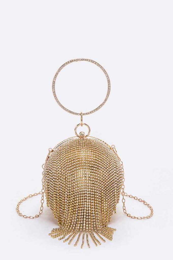 Disco Gold Fringe Round Rhinestone Pavé Clutch Bag