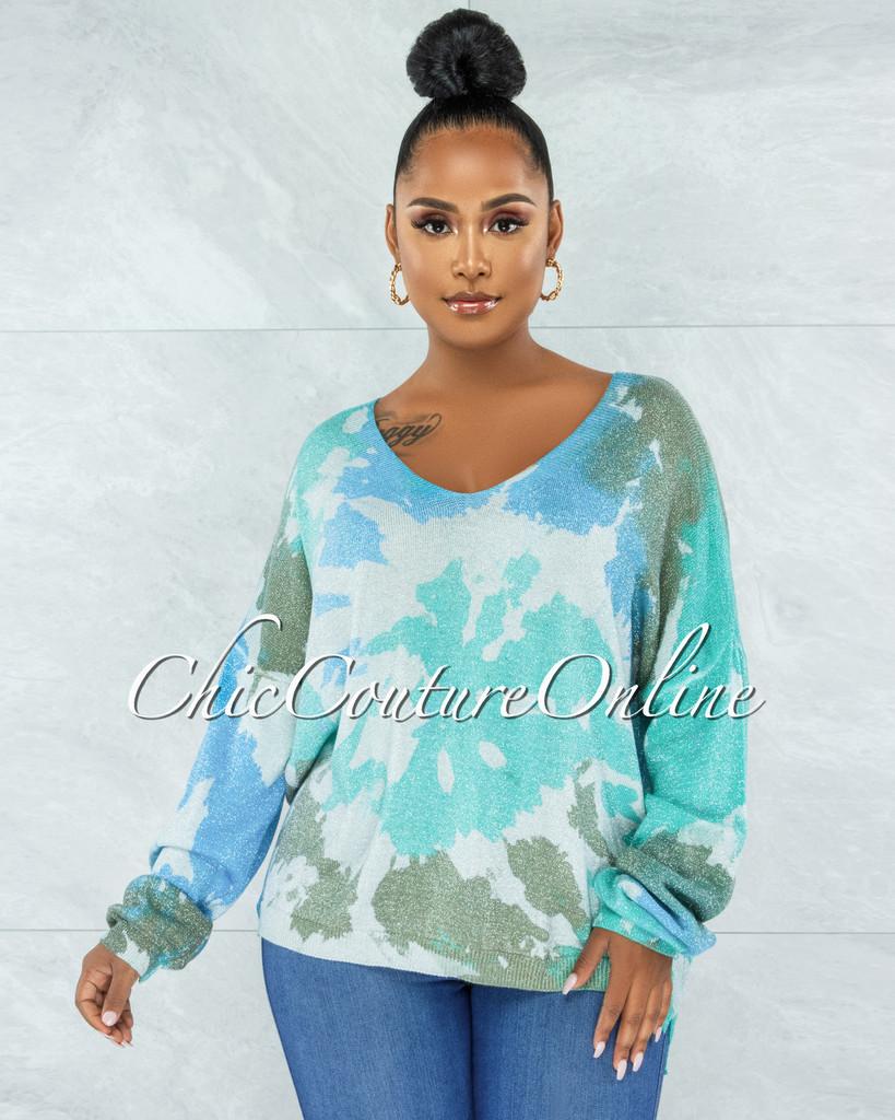 Ophelia Gray Aqua Print Silver Shimmer Knit Sweater