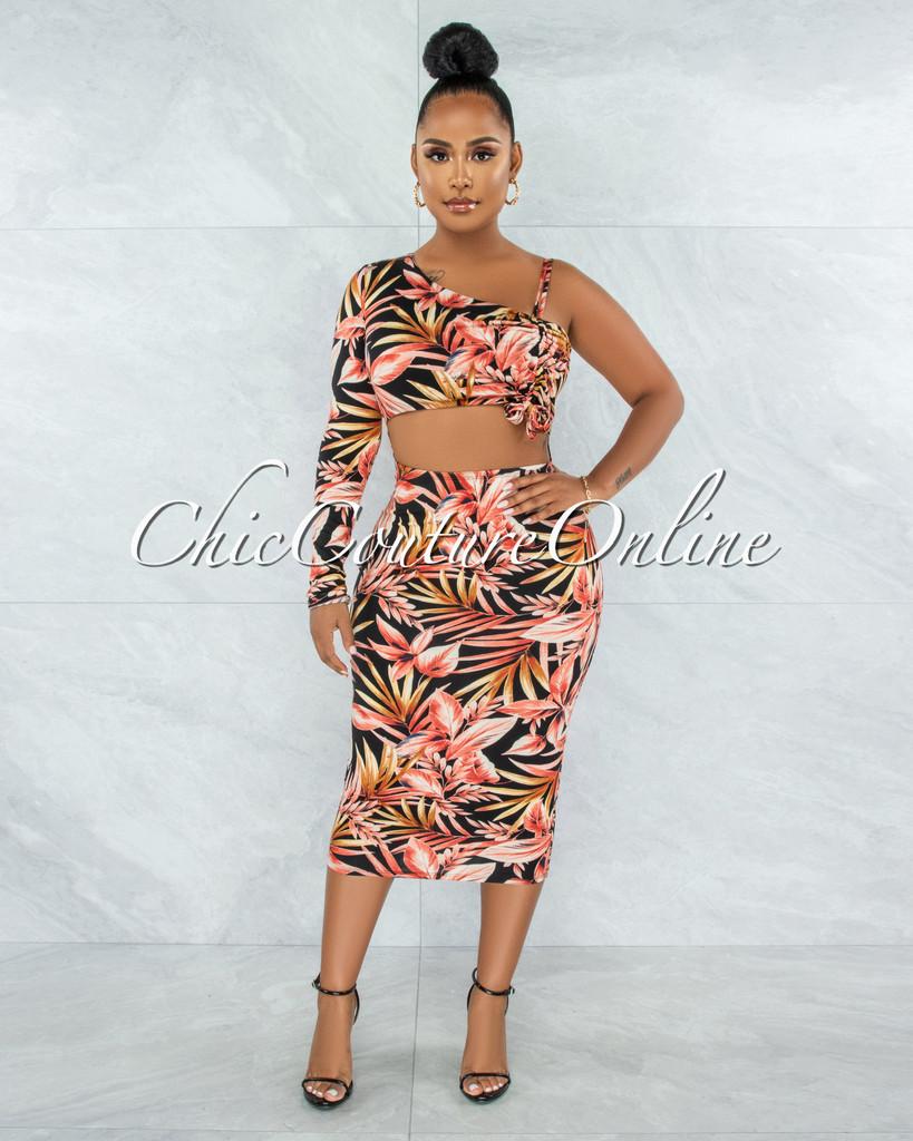 Siena Orange Black Leaf Print Single Sleeve Cut-Out Dress