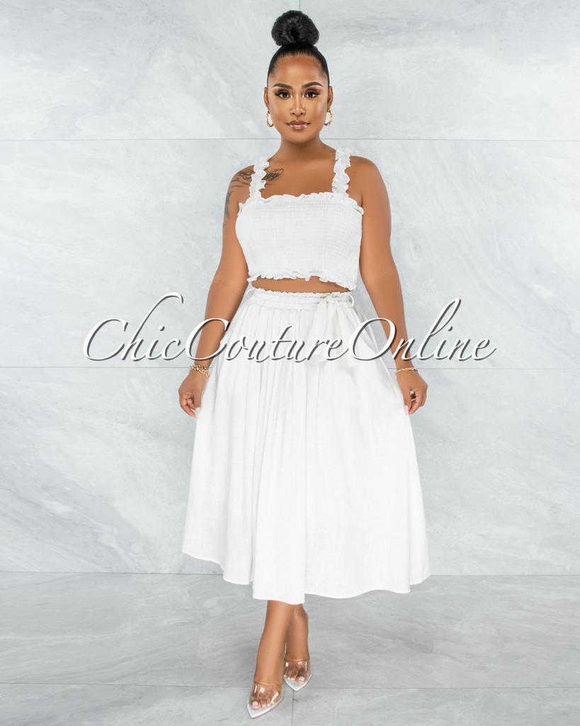 Wesly Off-White Smocked Crop Top & Midi Skirt LINEN Set