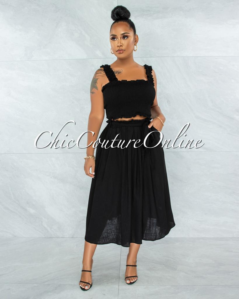 Wesly Black Smocked Crop Top & Midi Skirt LINEN Set