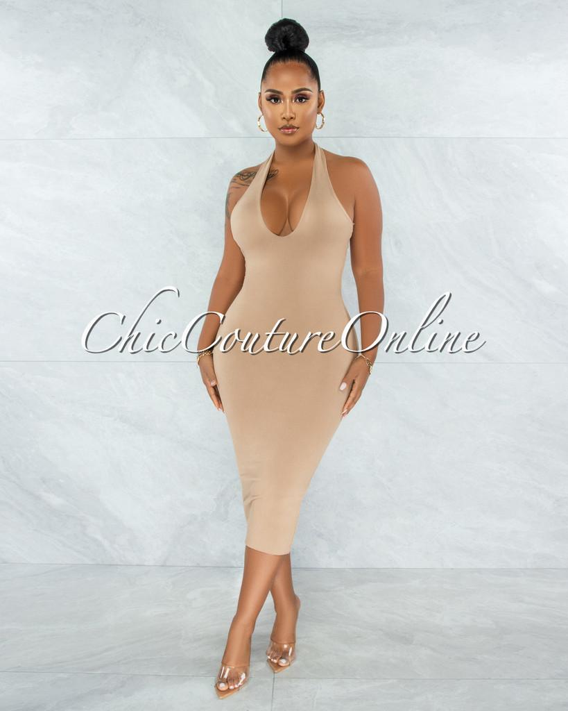 Wrama Nude Halter Double Lined Midi Dress
