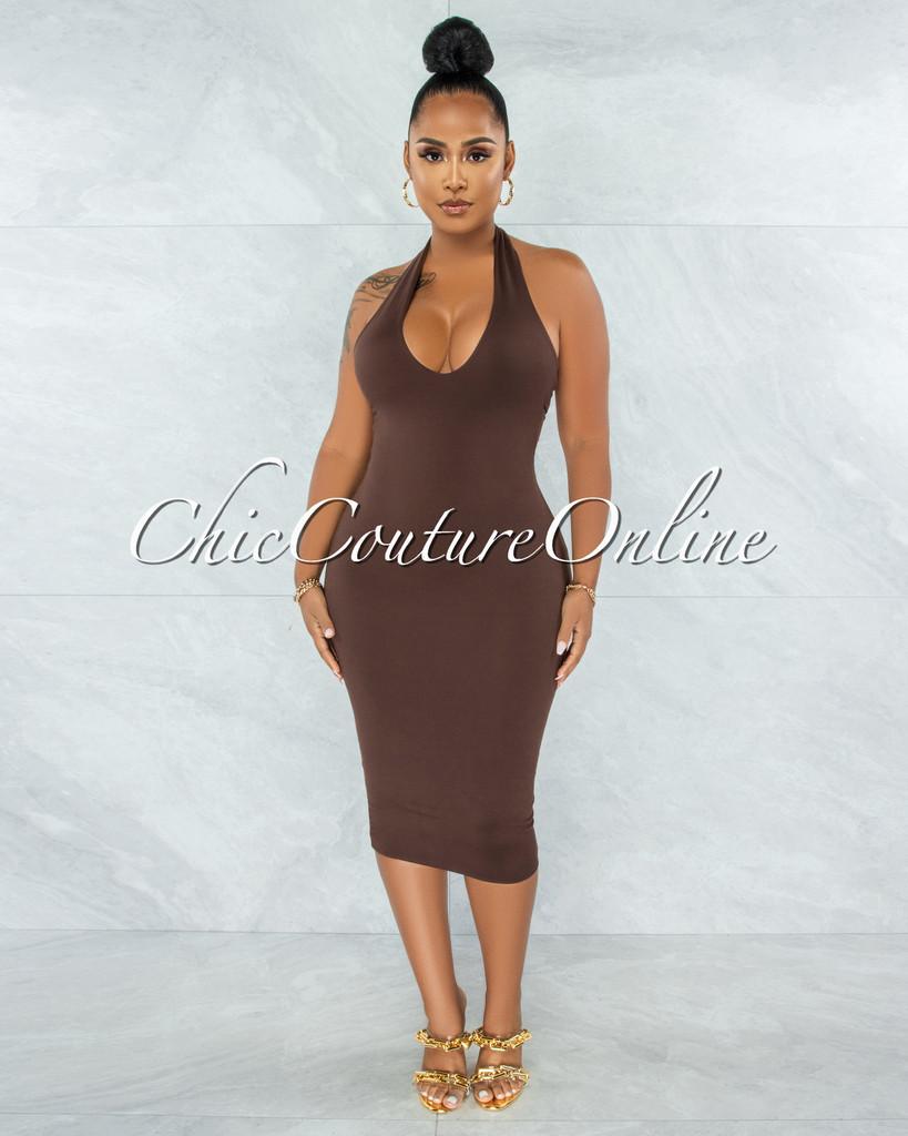 Wrama Brown Halter Double Lined Midi Dress