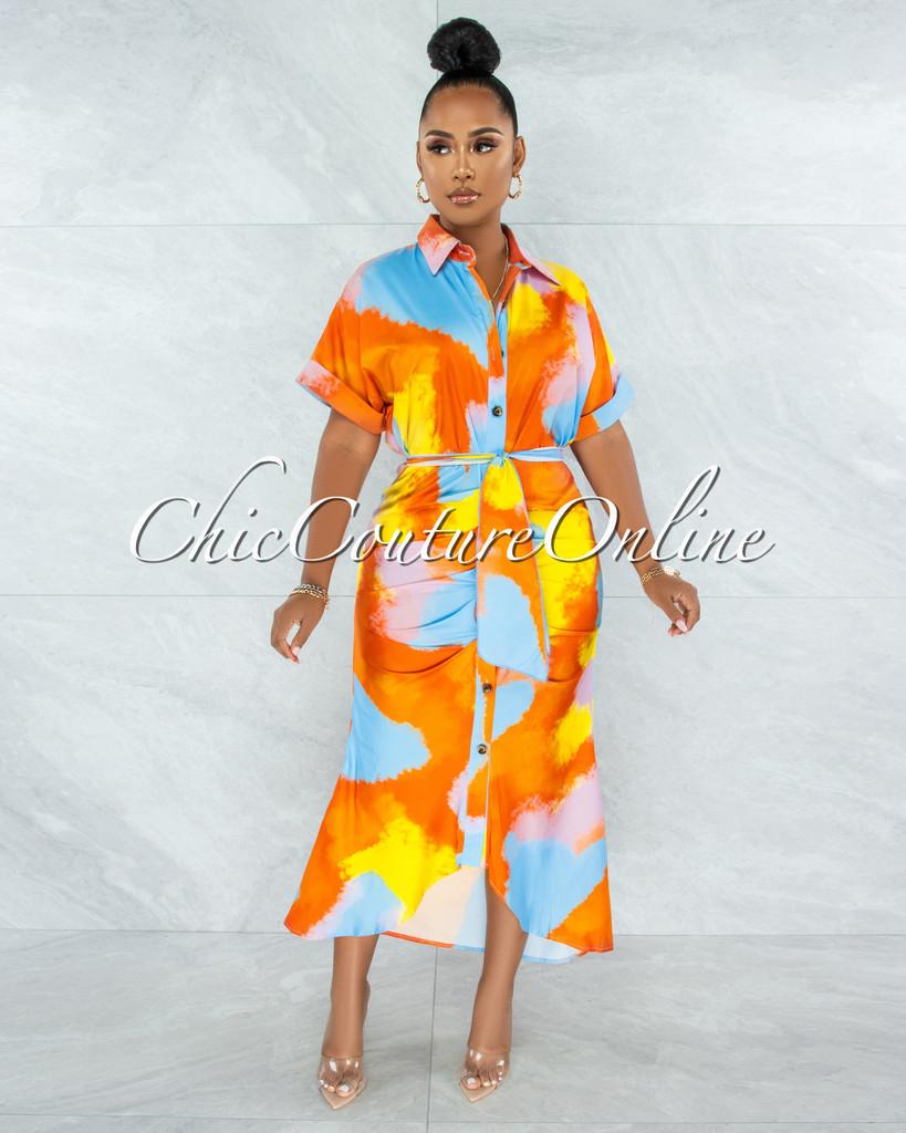 Santos Orange Yellow Print Drape Self-Tie Belt Shirt Midi Dress