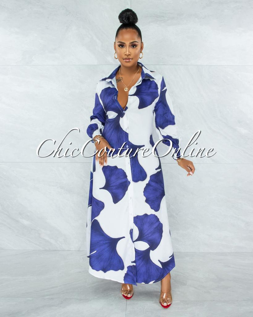 Zoey White Blue Print Long Shirt Dress
