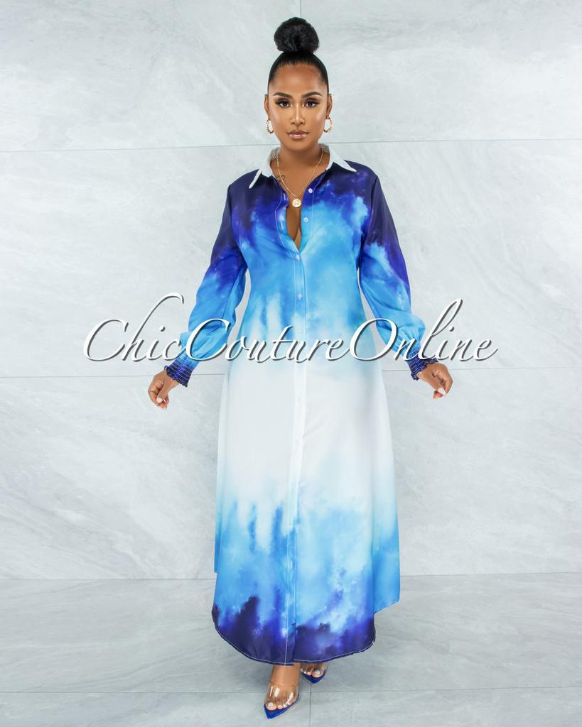Yemaya Blue Multi-Color Ombre Shirt Maxi Dress