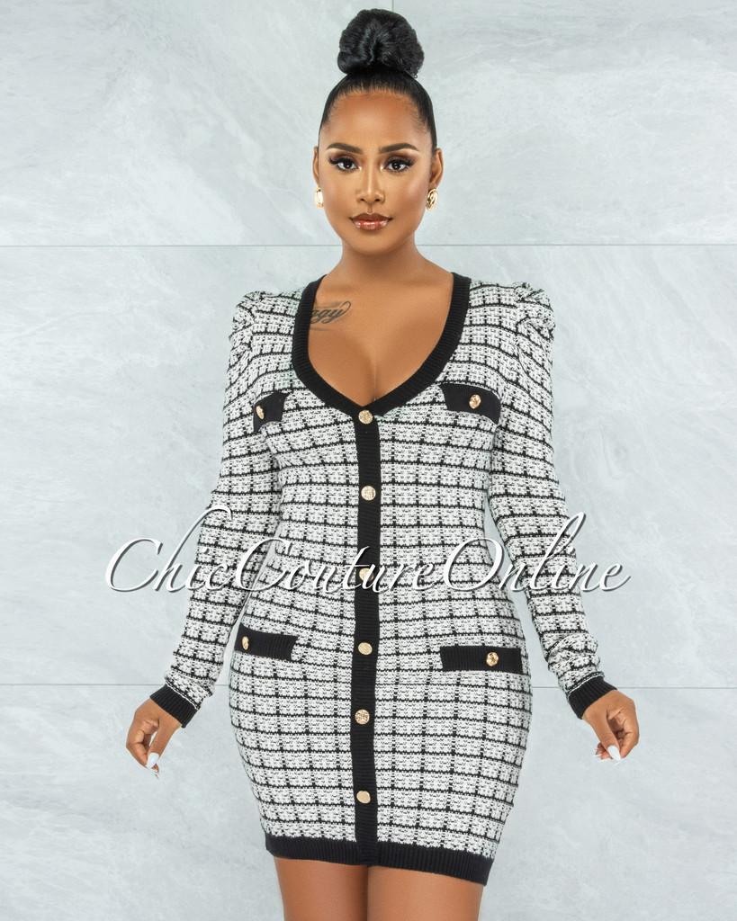 Marquis White Black Trim Tweed Dress