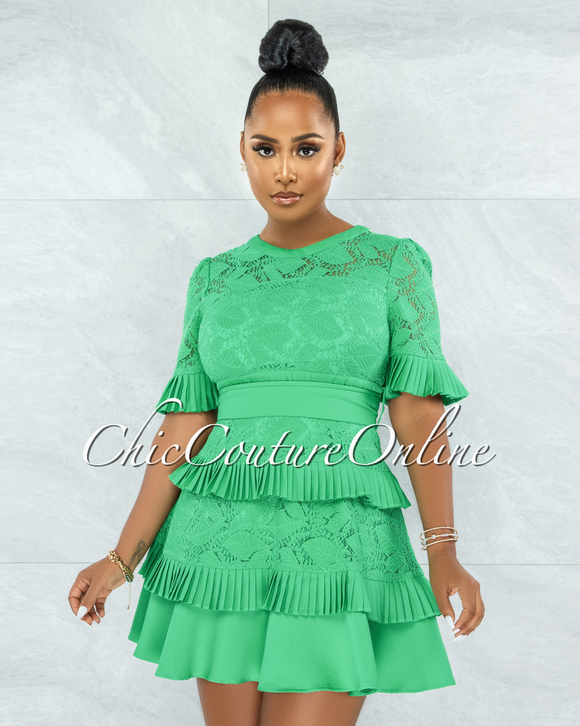 Knolly Kelly Green Lace Pleated Luxe Dress