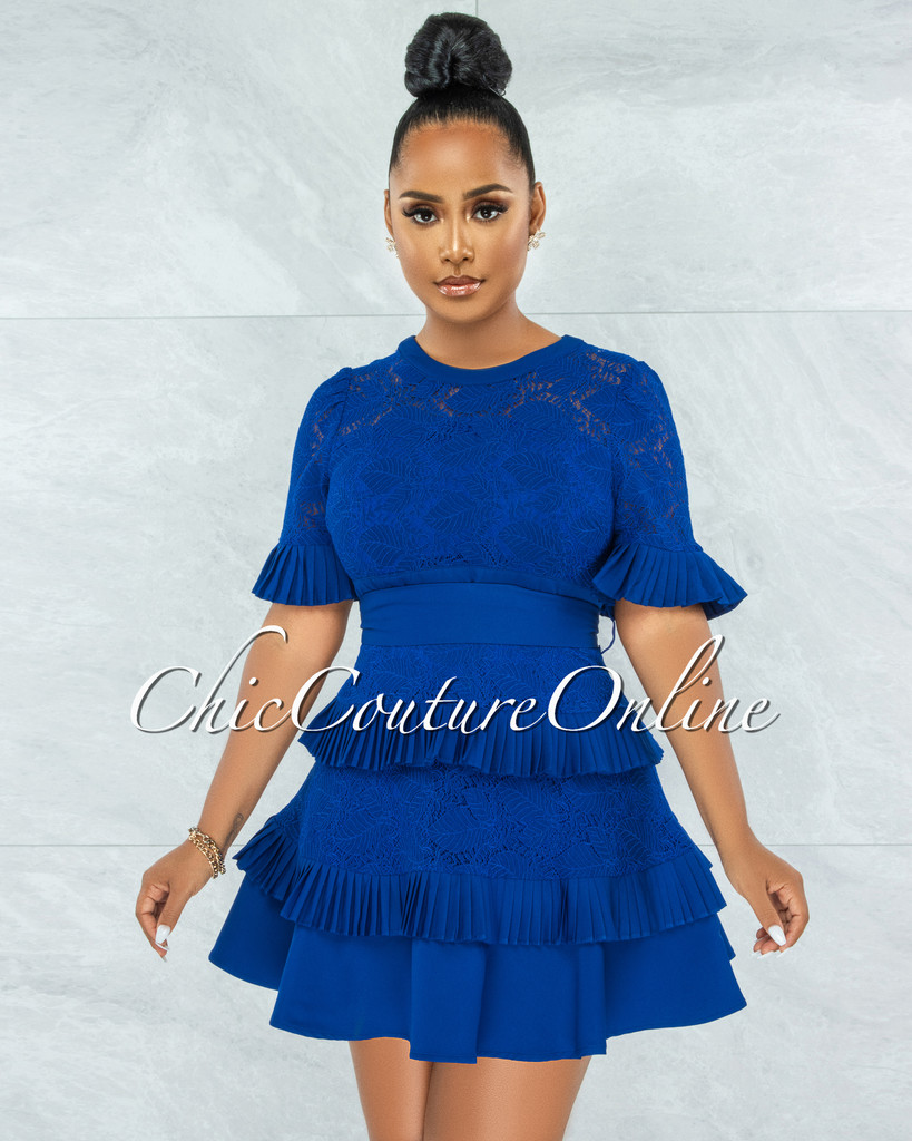 Knolly Royal Blue Lace Pleated Luxe Dress