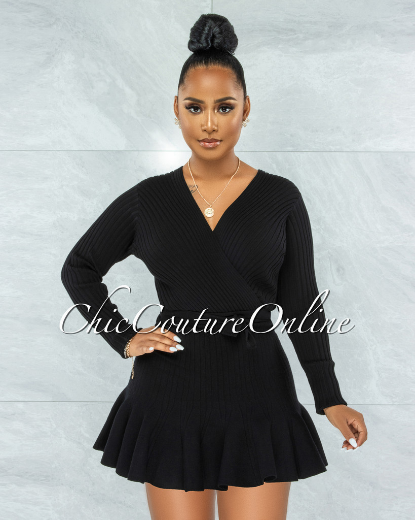 Innisse Black Ribbed Flare Bottom Ultra Mini Dress