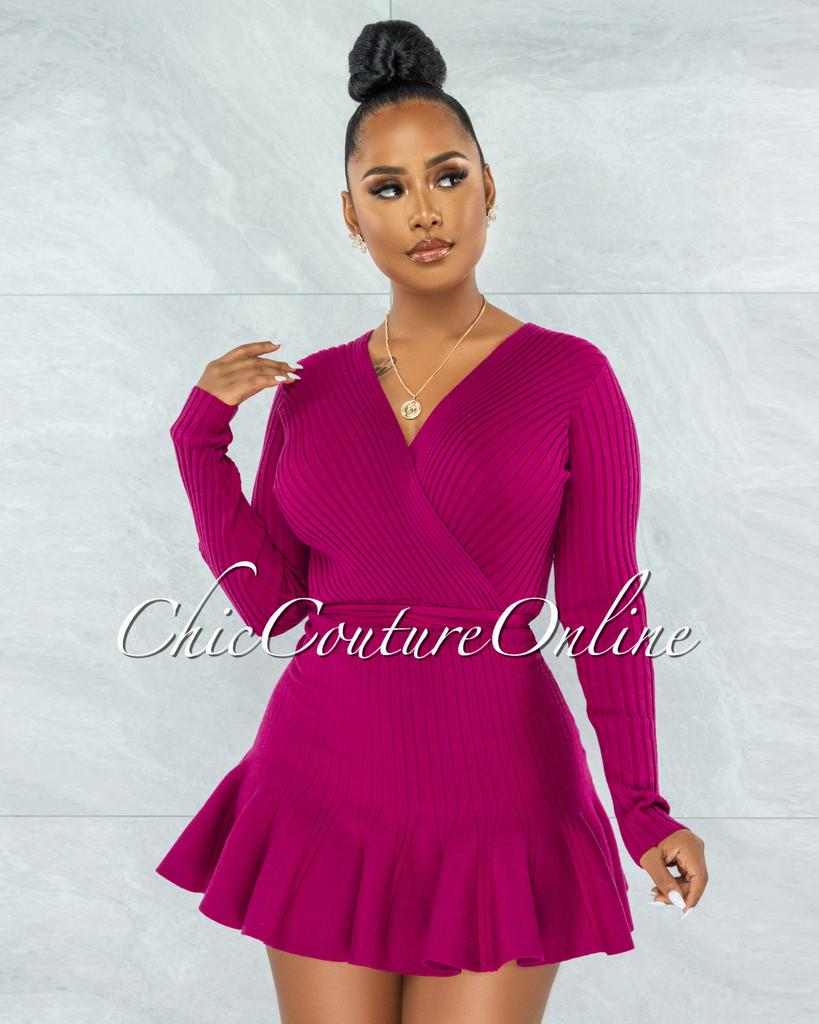 Innisse Magenta Ribbed Flare Bottom Ultra Mini Dress