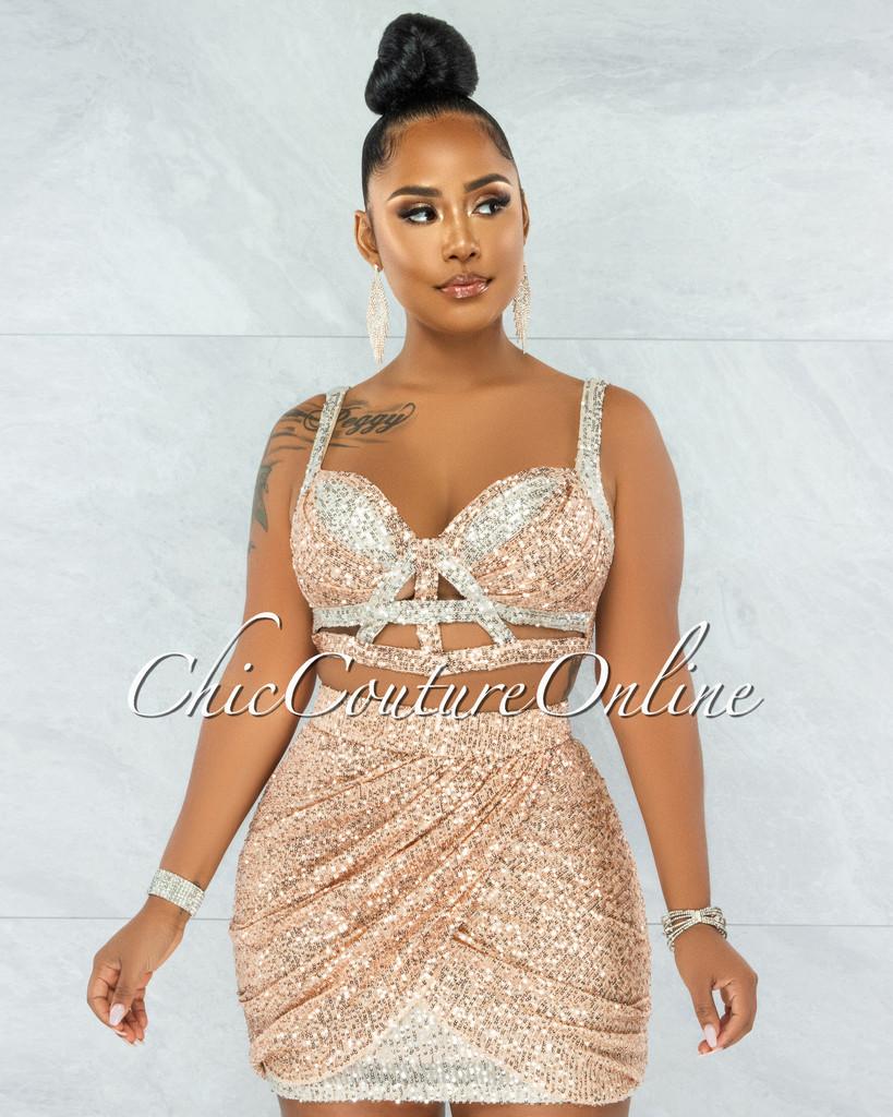 Ellerie Rose Gold Silver Sequins Strappy Top & Skirt Set
