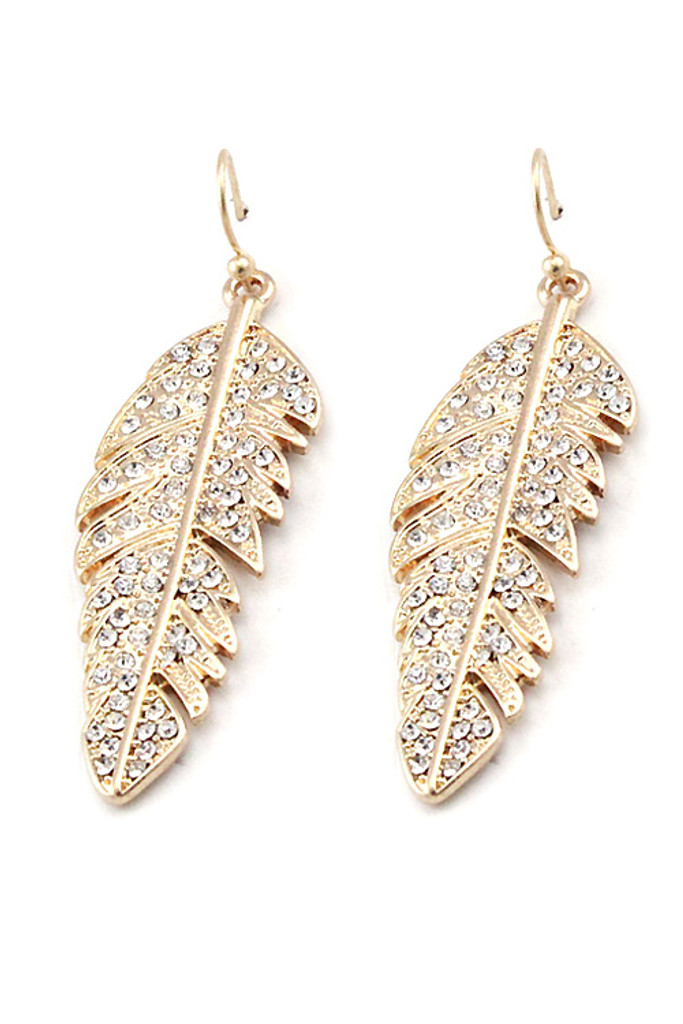 Gold Studded Leaf Hook Earrings