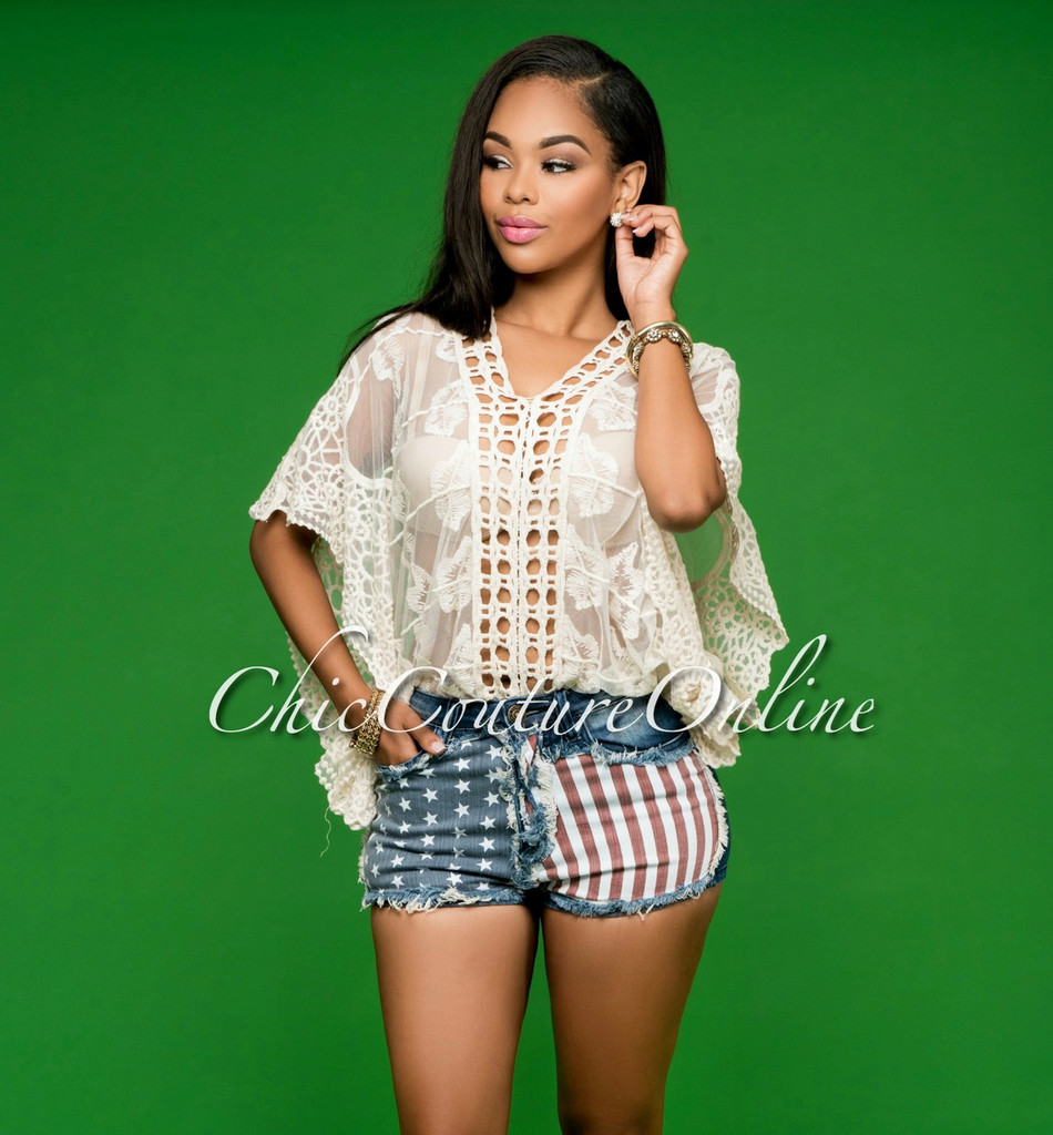 Americana Flag Dark Denim Mini Shorts