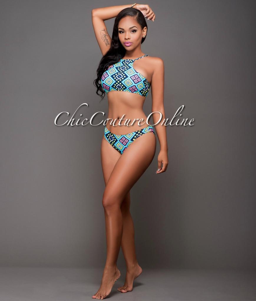 Brickell Teal Multi-Color Print Bikini Set