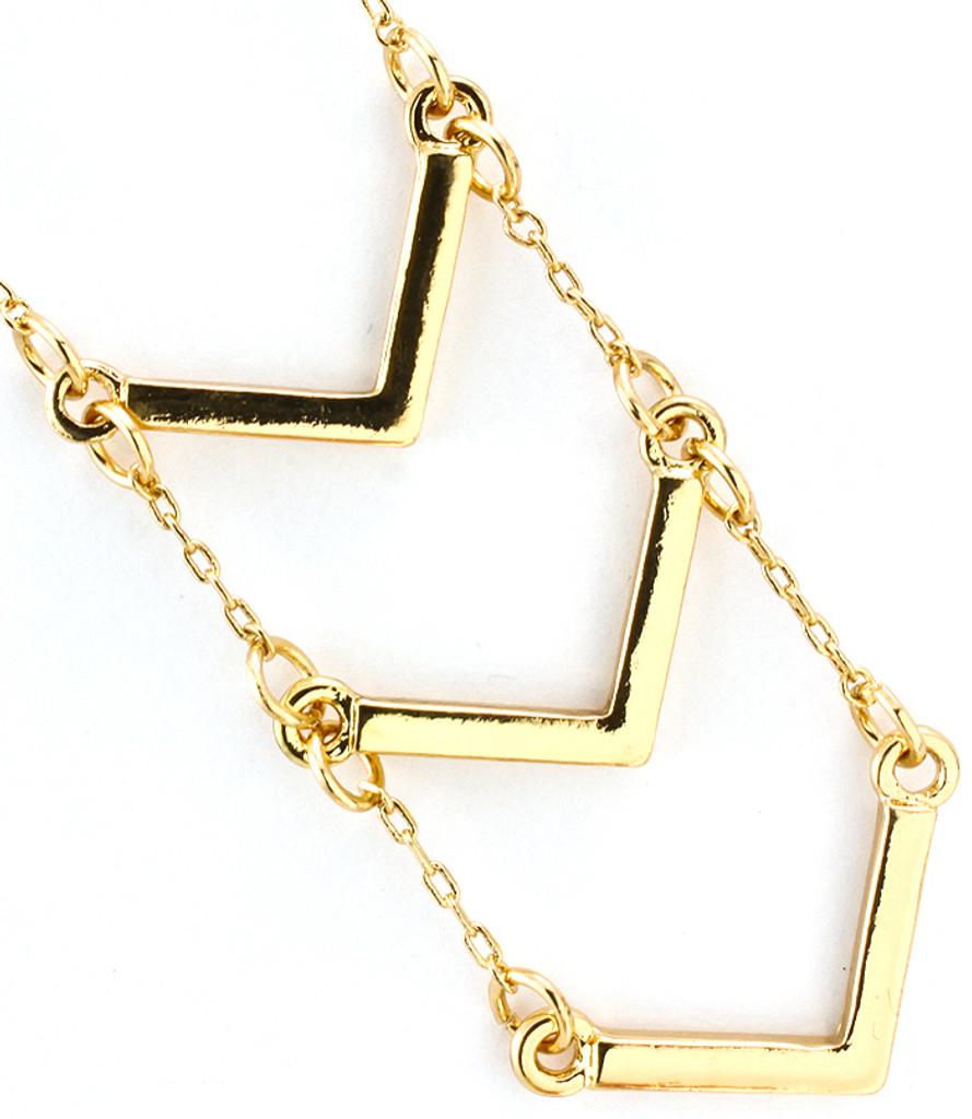 Gold Triple Chevron Necklace