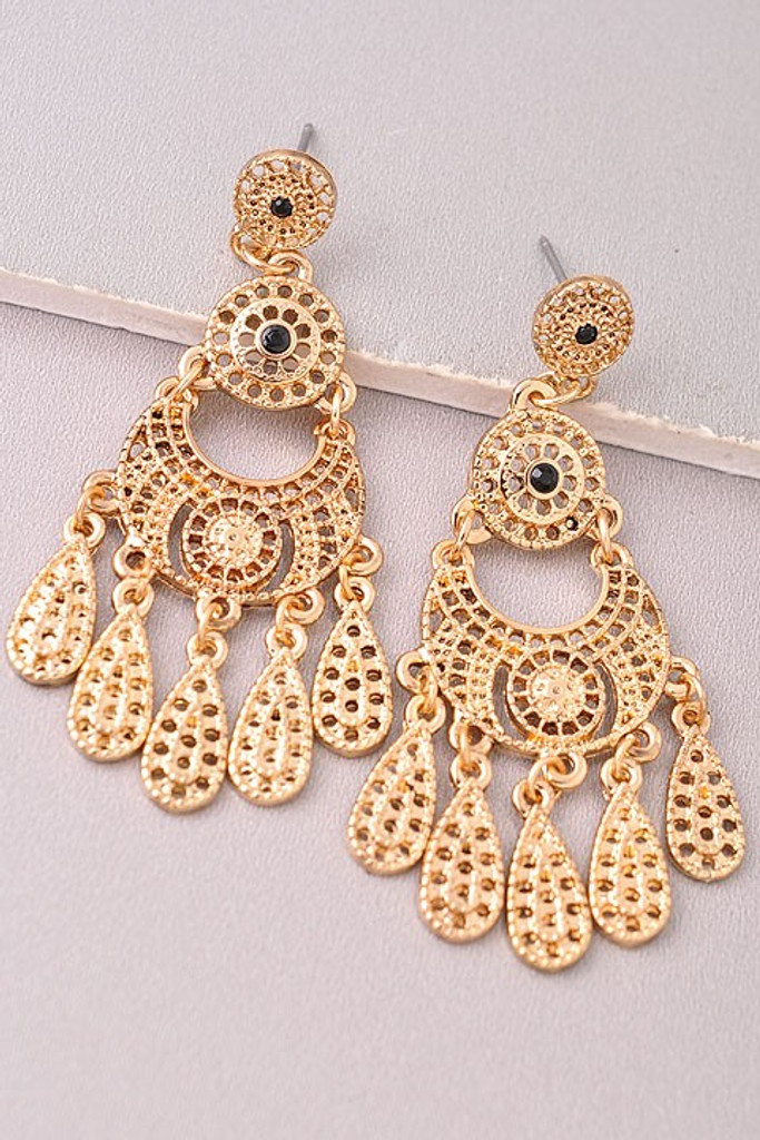 Lace Gold Statement Earrings