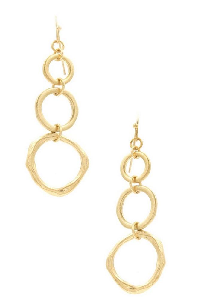 Gold Three Hoops Dangle Earrings