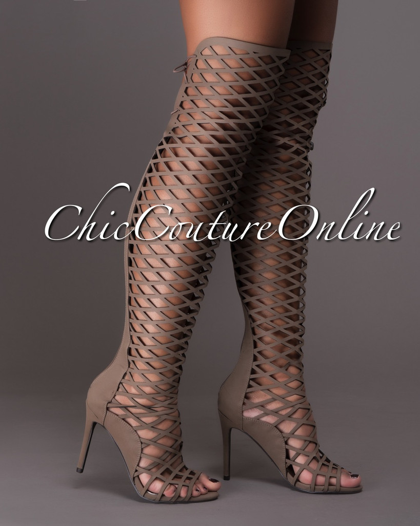 Selena Taupe Lattice Over-The-Knee Boots