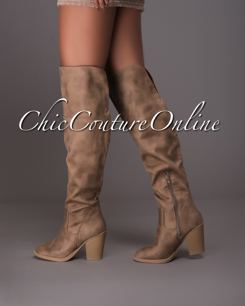 Elsa Taupe Faux Suede Knee High Boots