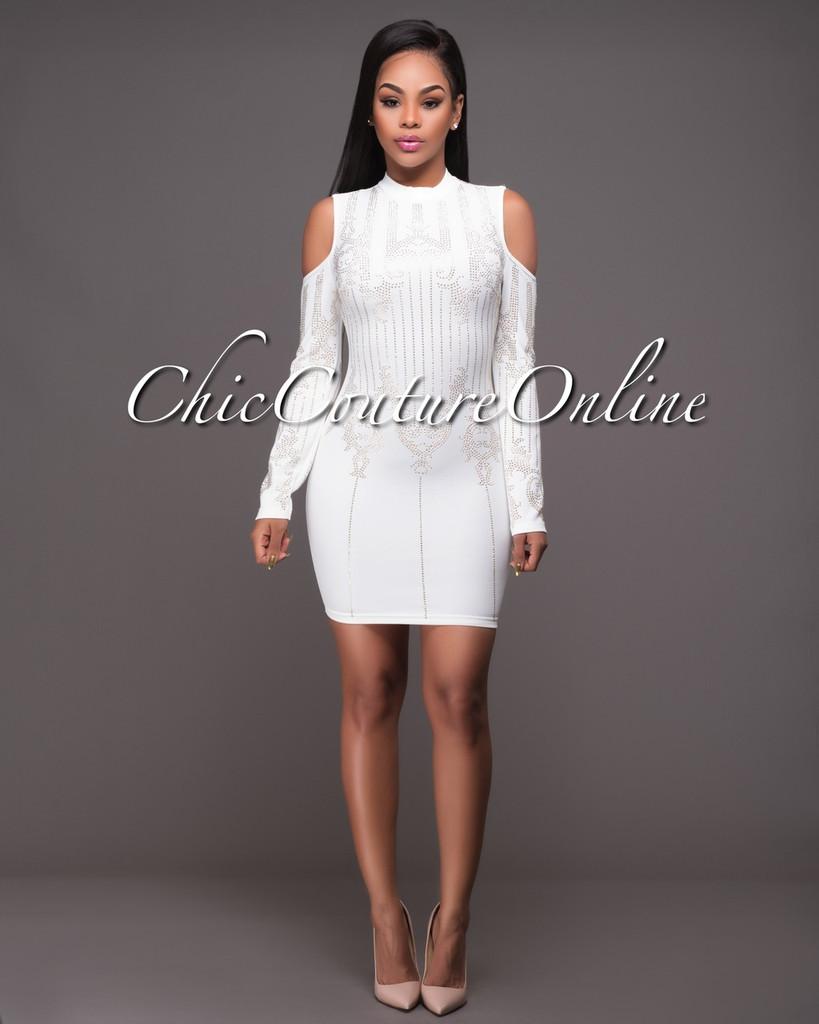 Pembroke Off-White Gold Studded Long Sleeves Dress