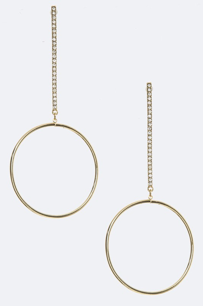 Dina Gold Crystal Bar Dangle Hoop Earrings