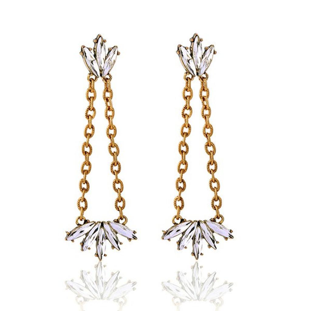 Dex Clear Rhinestone Long Drop Earrings