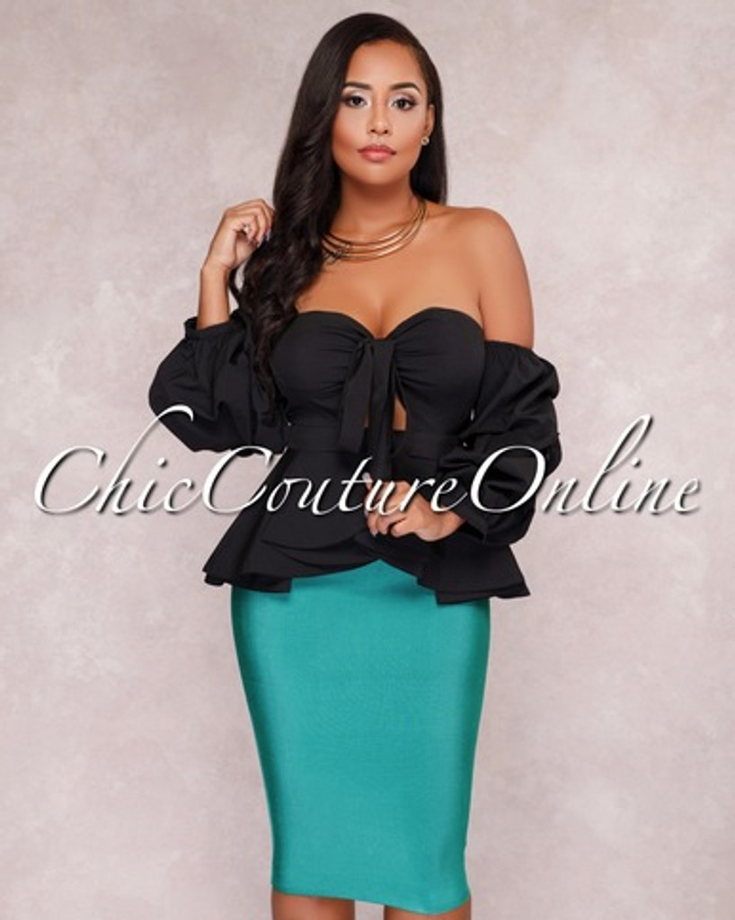 Lizeth Emerald Green Elastic Body-Con Skirt