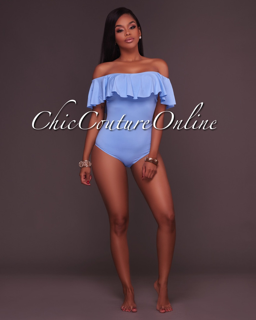 Scarlett Baby Blue Off-The-Shoulder Padded Swimsuit
